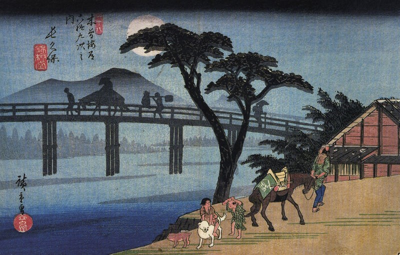 HIROSHIGE_MAN_ON_HORSEBACK_CROSSING_A_BRIDGE