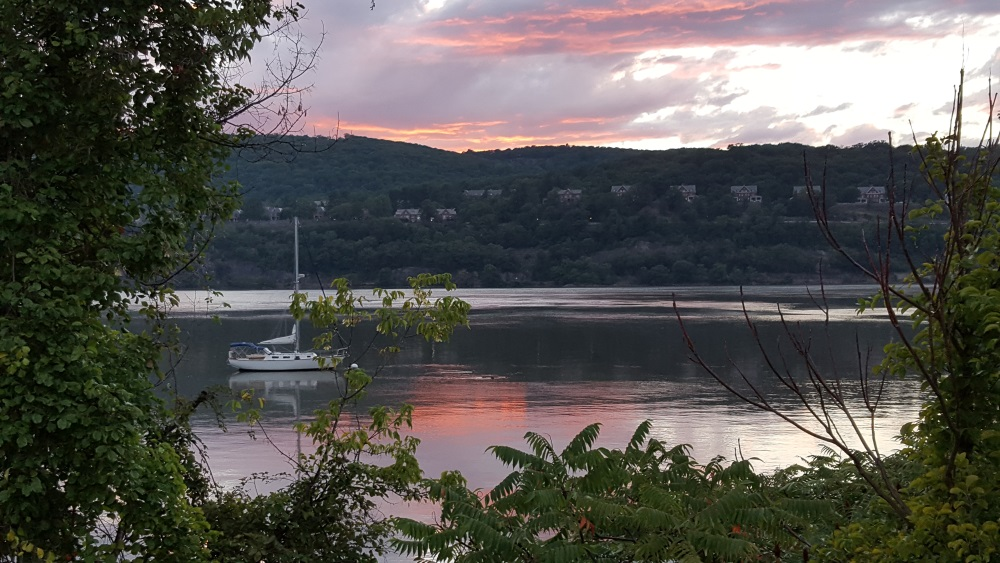 Garriosn Landing NY Hudson River Sunset with Sailboat
